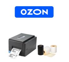 Комплект для маркировки OZON: Принтер этикеток TSC TE200 U + этикет-лента + красящая лента